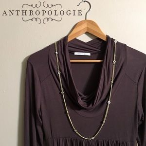 Anthropologie Chocolate Brown Cowl Neck Tunic